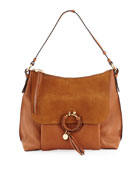 Ring Large Suede & Leather Shoulder Bag