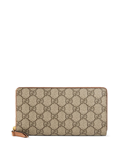 GG Supreme Zip-Around Wallet, Brown