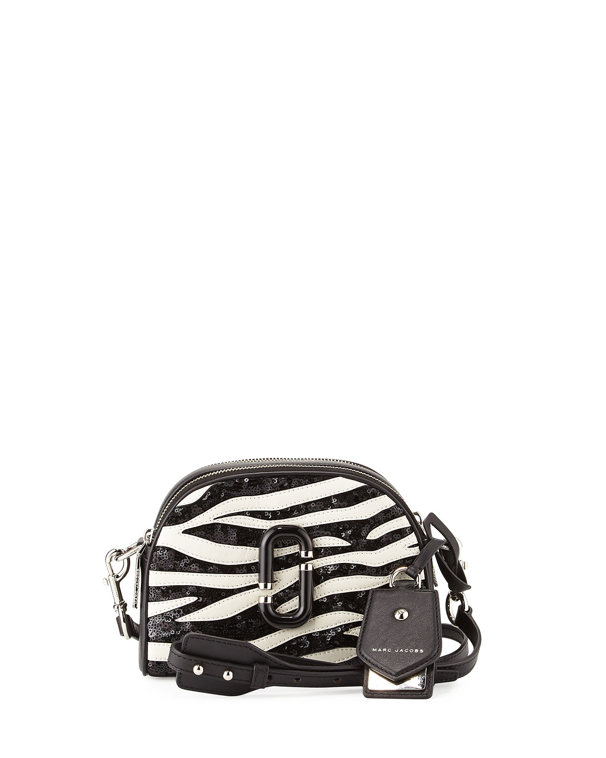 Shutter Small Zebra-Print Camera Bag, Dove/Multi