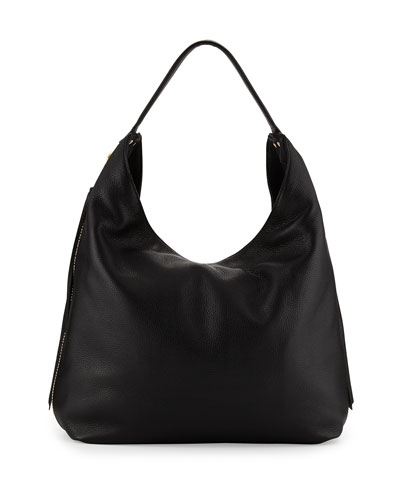 Bryn Leather Hobo Bag, Black