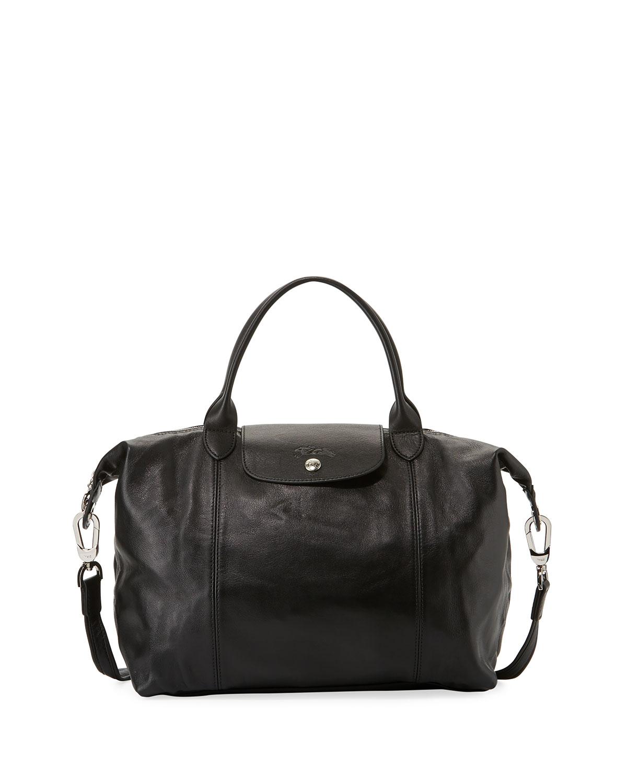 Le Pliage Cuir Medium Handbag with Shoulder Strap