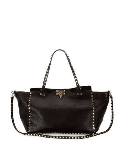 Rockstud Grained Leather Medium Tote Bag