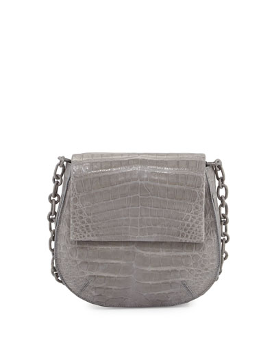 Crocodile Shoulder Saddle Bag, Gray