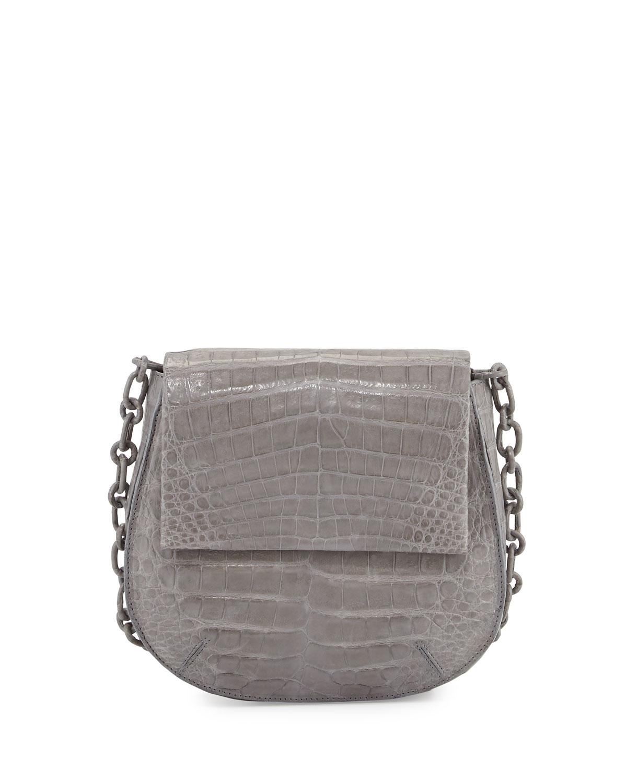 Crocodile Shoulder Saddle Bag, Gray