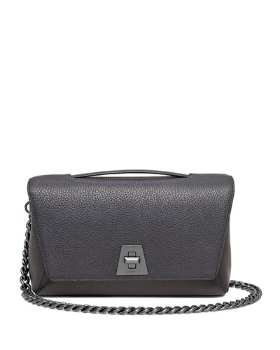 Calf Leather Flap Bag w/Chain Strap, Denim