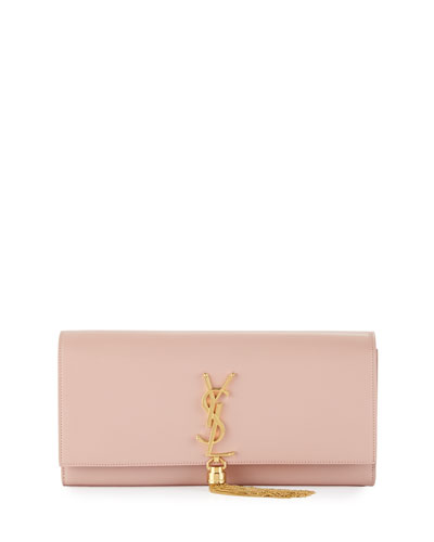 Monogram Tassel Clutch Bag, Pale Blush