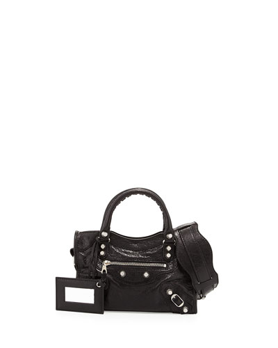Rivet-Studded Mini Silver City Shoulder Bag, Black