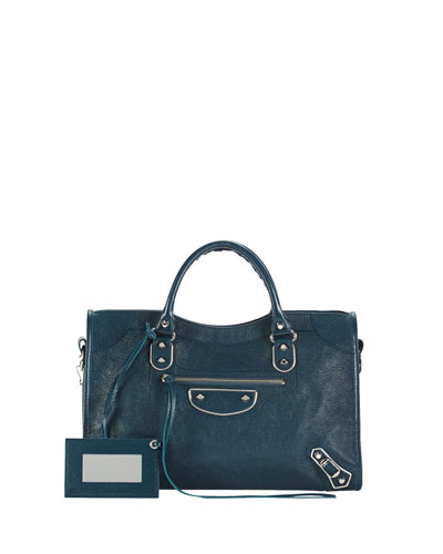Classic City Metallic Edge Bag, Blue