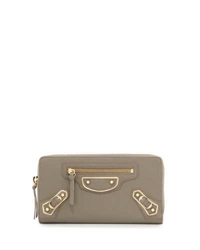 Classic Metallic Edge Zip-Around Wallet, Gray