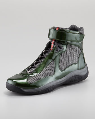 High-Top Patent Lace-Up Sneaker, Green/Gray
