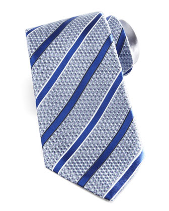 Textured Striped Silk Tie, Blue