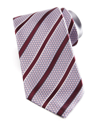 Textured Striped Silk Tie, Pink