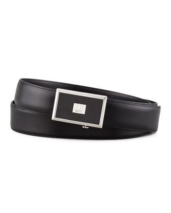 Enamel-Buckle Saffiano Belt, Black