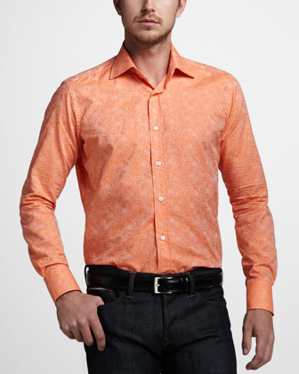 Paisley-Jacquard Sport Shirt, Orange