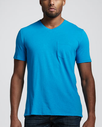 Cotton-Linen Pocket Tee, Turquoise