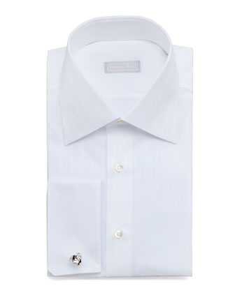 Textured-Stripe Dress Shirt, White 2