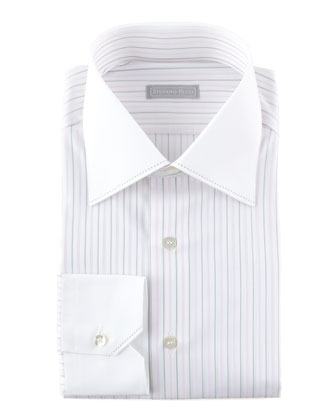 Contrast-Collar Two-Tone Striped Dress Shirt