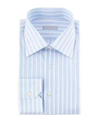 Wide/Thin Striped Dress Shirt, Blue