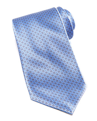 Medium Floral Medallion Silk Tie, Blue