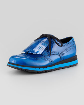 Kiltie Wing-Tip Wedge, Blue