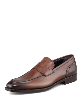 Brogue Detailed Penny Loafer, Brown