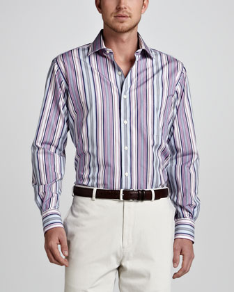 Striped Sport Shirt, Pink/Blue
