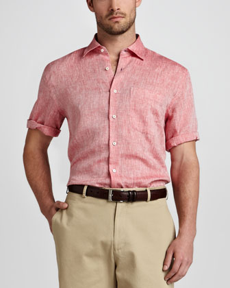 Amalfi Linen Short-Sleeve Shirt, Pomegranate