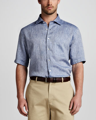 Amalfi Linen Short-Sleeve Shirt, Patriot Navy