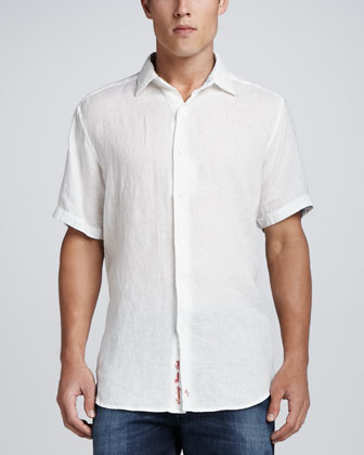 Double Tap Linen Sport Shirt, White