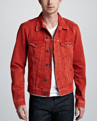Owen Vintage-Wash Denim Jacket, Orange