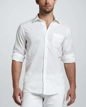 Tissue-Cotton Sport Shirt, White