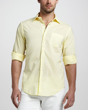 Tissue-Cotton Sport Shirt, Yellow