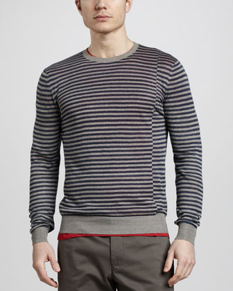 Amiry Striped Linen-Blend Sweater