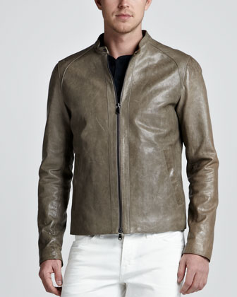 Leather Biker Jacket, Gray