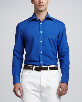 Washed Solid Sport Shirt, Royal Blue
