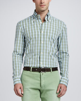 Check Sport Shirt, Green/Blue
