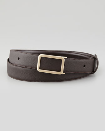 Saffiano Frame-Buckle Belt