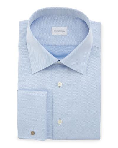 Diagonal-Stripe French-Cuff Dress Shirt, Blue