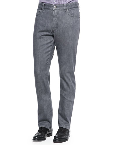 Stretch Denim Jeans, Dark Gray