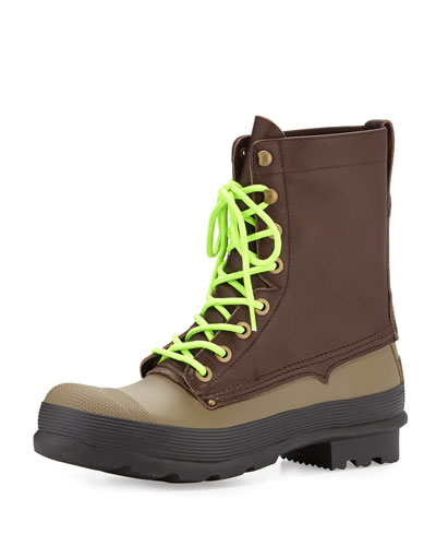 Original Rubber Lace-Up Two-Tone Boots, Brown/Green