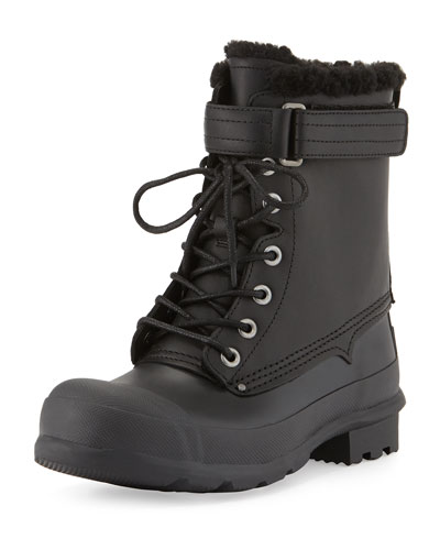 Rubber and Shearling Fur Lace-Up Boot, Black