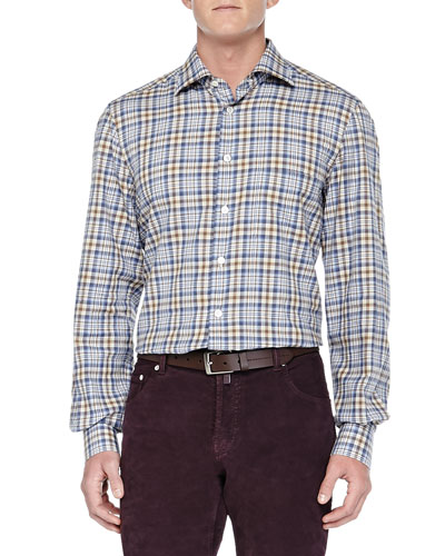 Plaid Ultrafine-Woven Shirt, Tan/Blue
