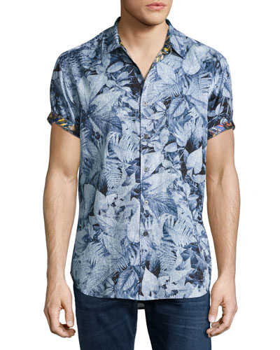 Masoor Leaf-Print Short-Sleeve Sport Shirt
