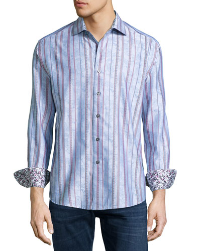Moksa Paisley-Striped Sport Shirt, Light Blue