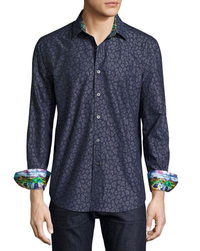 Leopard Jacquard Sport Shirt, Indigo