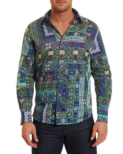 Garland Mosaic-Print Sport Shirt, Medium Green