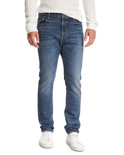 Drop-Rise Denim Jeans, Blue