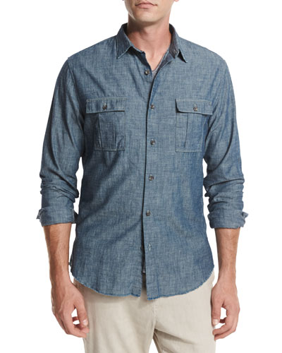 Distressed Chambray Utility Shirt, Blue