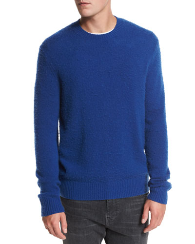 Textured Wool-Cashmere Crewneck Sweater, Cobalt