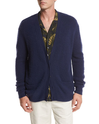 Textured Wool-Cashmere Cardigan, Navy